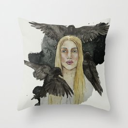 girl with the crows Throw Pillow