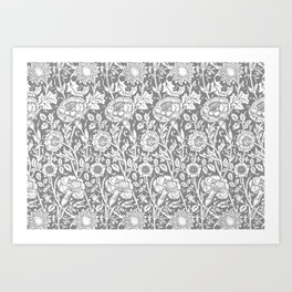 "William Morris Floral Pattern | ""Pink and Rose"" in Grey and White Art Print"