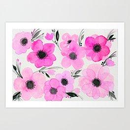 Hot Pink and Black Floral Enhanced Watercolor Art Art Print