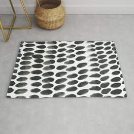 Black and White Abstract Watercolor Polka Dot Brushtrokes Painting Rug