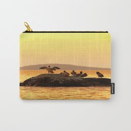 Summer Scene - Birds are resting on Stone - Sunset Sky Carry-All Pouch