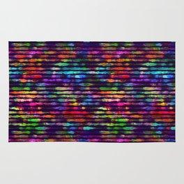 Rainbow watercolor brush stripes Rug