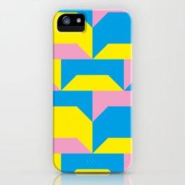 Trapezi e altre forme. Rosa, azzurro, giallo. Sembrano piccoli ponti per bambini, fatti in legno. iPhone Case