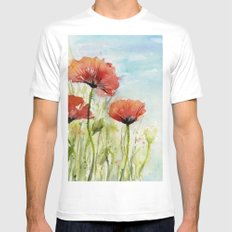 Red Flowers Watercolor Landscape Poppies Poppy Field MEDIUM White Mens Fitted Tee