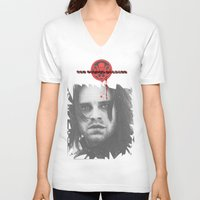 "bucky barnes V-neck T-shirts featuring Bucky Barnes ""The Winter Soldier"" Portrait by thecannibalfactory"