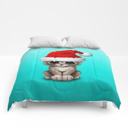 Christmas Kitten Wearing a Santa Hat Comforters