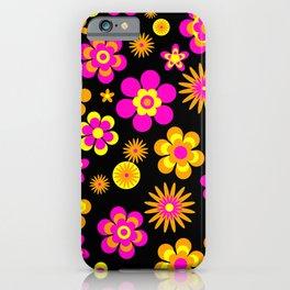 Seventies Look Floral Pattern on Black iPhone Case