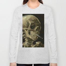 SKULL OF A SKELETON WITH BURNING CIGARETTE - VINCENT VAN GOGH Long Sleeve T-shirt