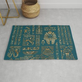 Egyptian hieroglyphs and deities - Gold on teal Rug