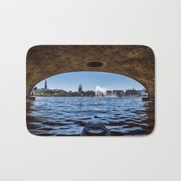 Kayaking in Hamburg with view on the Binnenalster Bath Mat