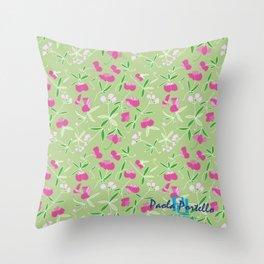 Summer Pink Flower Throw Pillow