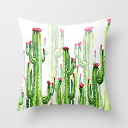 Green Cactus Field Throw Pillow