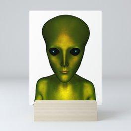 Alien Head and Shoulders Green Scaled Creature Mini Art Print