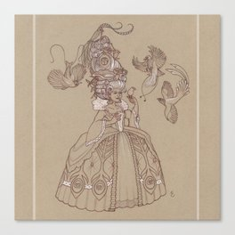 Baroque Bird Lady Canvas Print