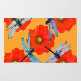 CLUSTER OF BLUE DRAGONFLIES RED HOLLYHOCK FLOWERS Rug