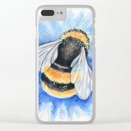 Bumble Bee Blue Flower Watercolor Art Clear iPhone Case