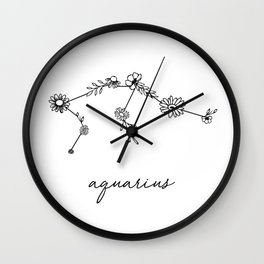 Aquarius Floral Zodiac Constellation Wall Clock