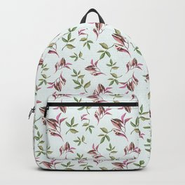 Hand painted pastel green pink watercolor leaves pattern Backpack