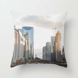 Sunset on State Street - Chicago Photography Throw Pillow