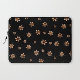 Snowflakes (Orange on Black) Laptop Sleeve