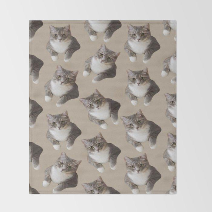 beige tan grey american wirehair cat pattern Throw Blanket by ...