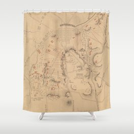 Vintage Map of The Battle of Gettysburg (1864) Shower Curtain