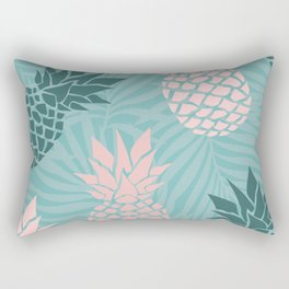 Tropical Pineapple and Palm Leaf Pattern, Teal and Pink Rectangular Pillow