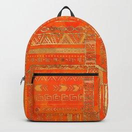 Tribal Ethnic pattern gold on bright orange Backpack