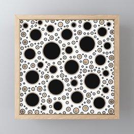 Polka Dot Chaos - White, Black and Gold Framed Mini Art Print