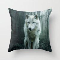 wolf Throw Pillows featuring Wolf by Julie Hoddinott