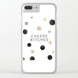 CHEERS BITCHES SIGN, Funny Bar Decor,Funny Print,Bar Wall Decor,Home Bar Decor,Party Gift,Drink Sign Clear iPhone Case