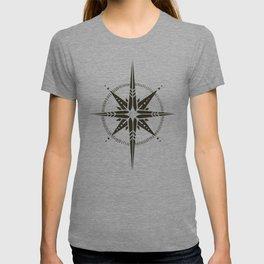 Compass Rose Illustration   Black on White T-shirt