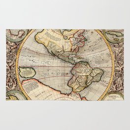 Vintage Map of The Western Hemisphere (1596) Rug