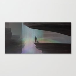 At a waterfall with my cat Canvas Print