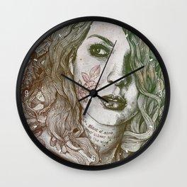 Wake: Autumn (street art woman with maple leaves tattoo) Wall Clock