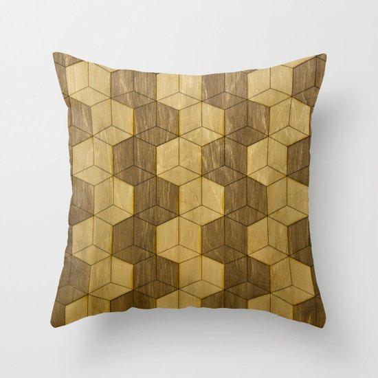 Wooden Zig Zag Optical Cubes Throw Pillow