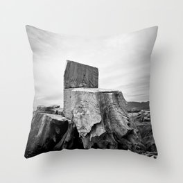 Thor Wood Stump Driftwood Northwest Tree Forest Black White Rustic Nature Outdoors Landscape Beach Pacific Ocean Throw Pillow