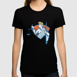 Lady Blindfolded Holding Scales Justice Sword T-shirt