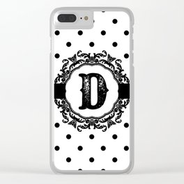 Black Monogram: Letter D Clear iPhone Case