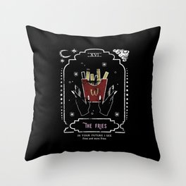 The French Fries Funny Tarot Reading Card Crescent Moon Throw Pillow