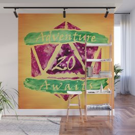 D20 Adventure Awaits Watercolor Path of Magic Wall Mural