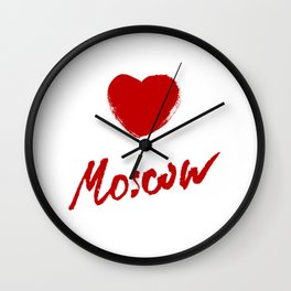 Moscow city name hand-lettering calligraphy. Premium Handmade vector Lettering. Wall Clock