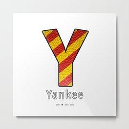 Yankee - Navy Code Metal Print