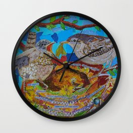 Two Birds In Colorful Nest With Quotes About Wrens Wall Clock