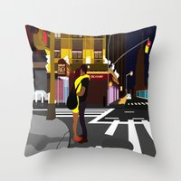 broadway Throw Pillows featuring BROADWAY KISS by Alfred Fox Art & Photography