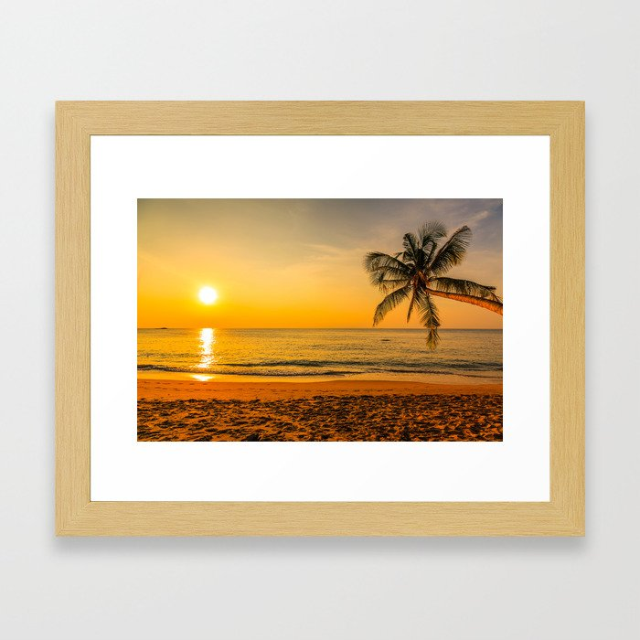 Beautiful Sunset over the Beach Framed Art Print by aptine | Society6