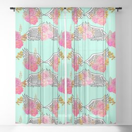 Wings and Roses Mint Green Sheer Curtain