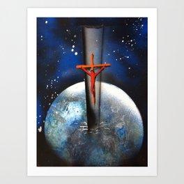Saving the World Cross Spray Paint Art Print