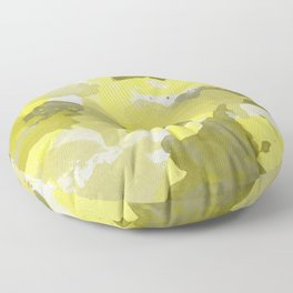 Yellow Splatters Watercolor Illustration - Patchy Camo Floor Pillow