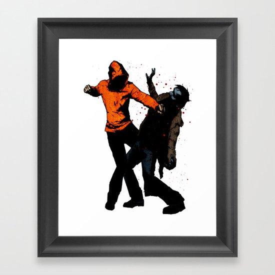 Zombie Fist Fight! Framed Art Print